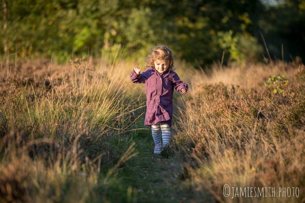 Child walking along path on Wimbledon Common