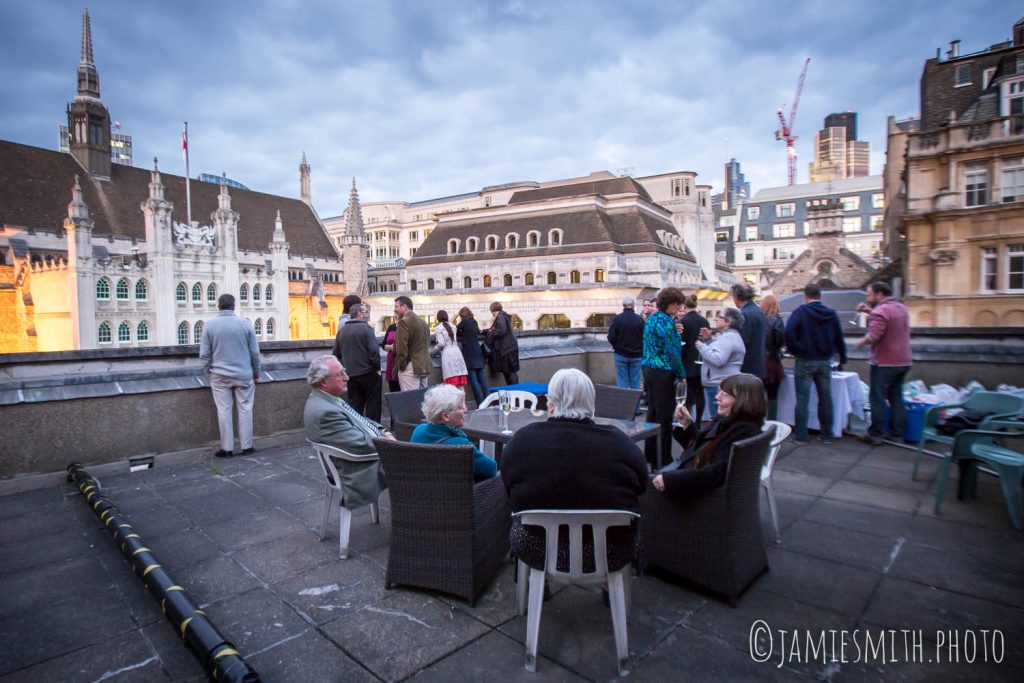 Photo of party on balcony of Church above Guildhall Yard