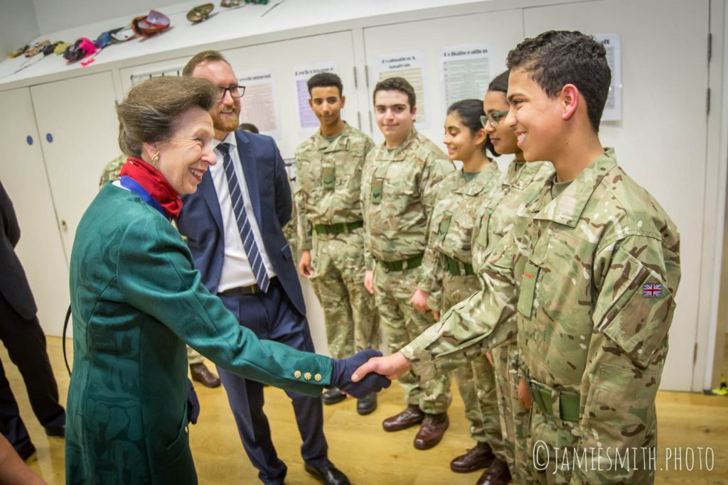 Photo of HRH Princess Anne meeting cadets at school