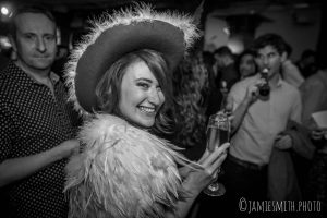 Photo of woman in hat at London party