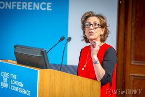 Photograph of Kirsty Wark speaking at the London Conference