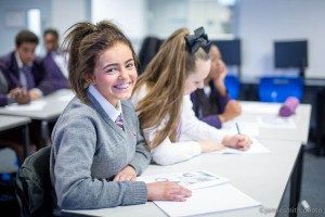 Photograph of girl in class at London Academy school